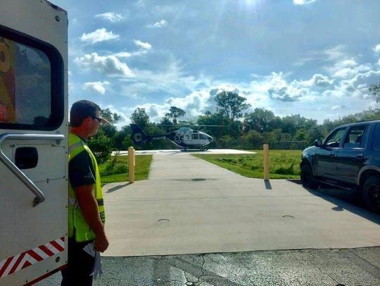 A 24-year-old man was flown to a hospital with head