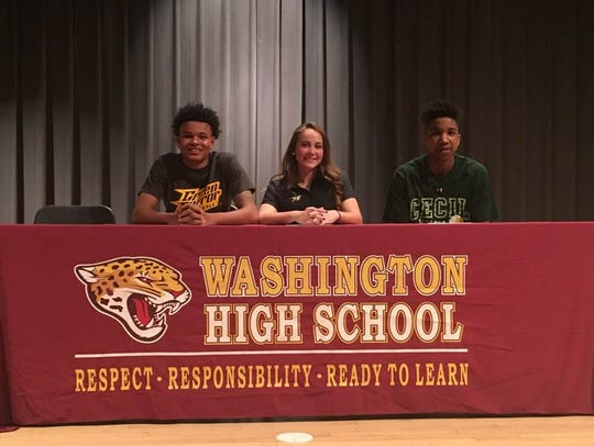 L-R: Josh Sproul, Zoey Nichols and Khalid Gates announce