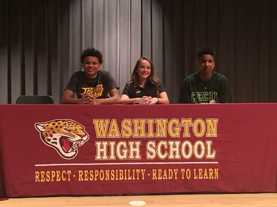 L-R: Josh Sproul, Zoey Nichols and Khalid Gates announce their intent to continue their athletic careers at the college level.