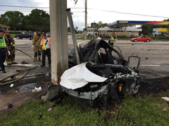 Three people were taken to the hospital after a fiery crash Sunday at Port St. Lucie and South West Cameo Boulevard May 6, 2018.