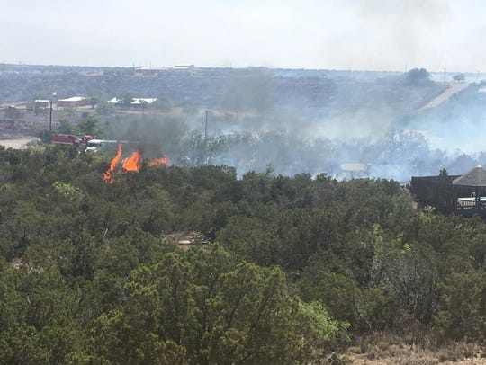 View of the Ratliff Road Fire south of Big Spring on Monday.