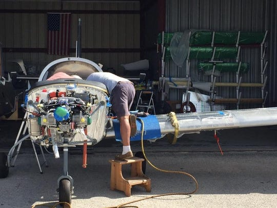 Bob Zaleski works on the fuselage of the Sling 2 during