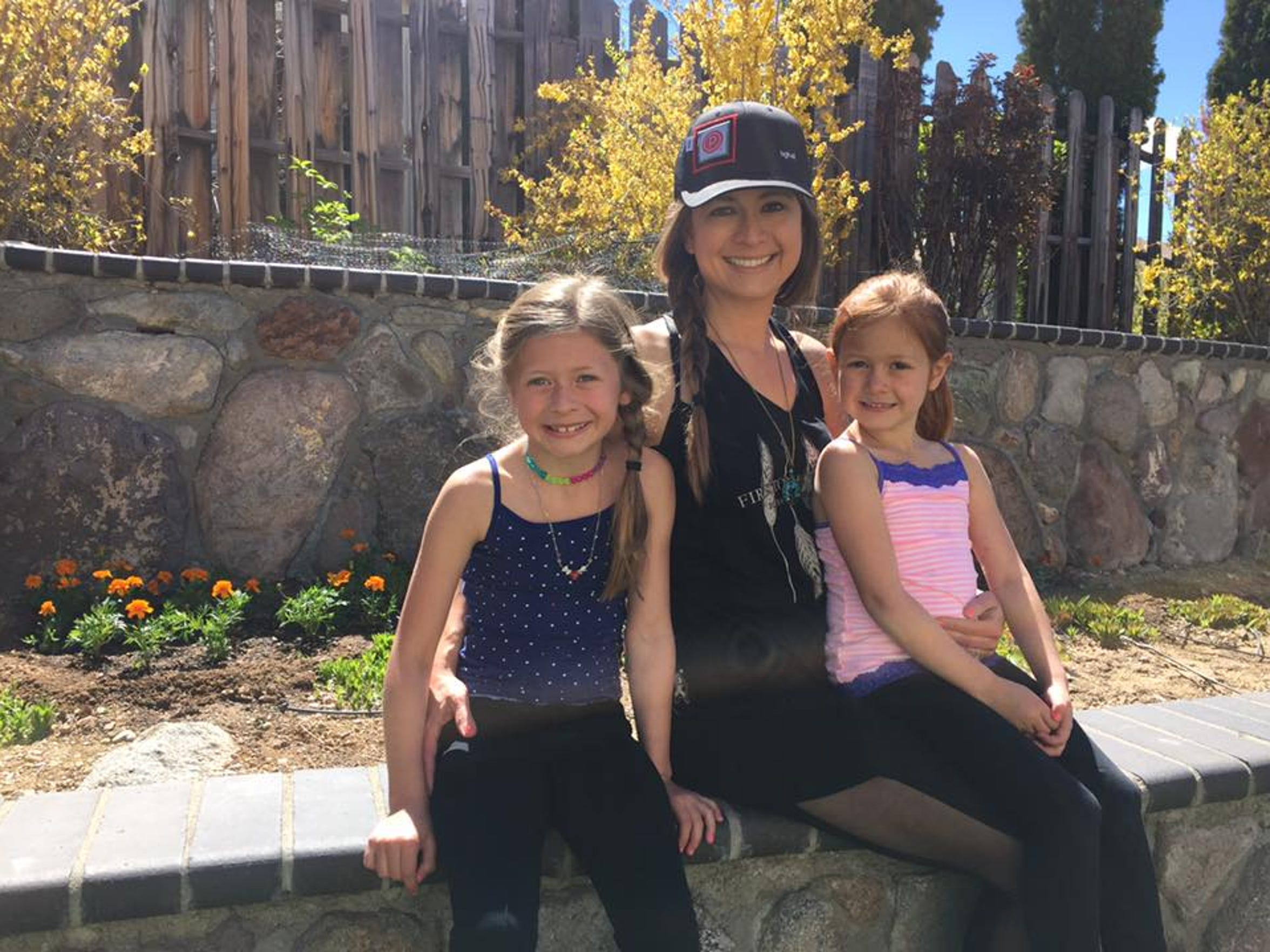 Sarah Herndon and her daughters Hannah and Holly in April 2017