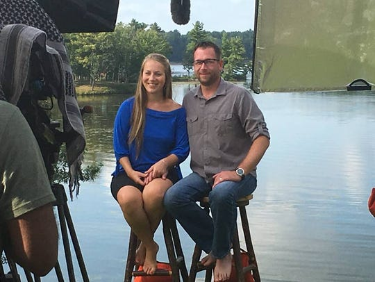Brenda and Aaron Cordy do an interview during the filming