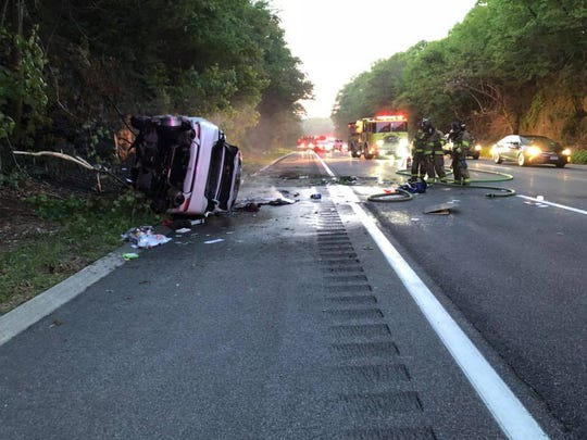 A car rolled over and burst into flames on the Taconic State Parkway in Yorktown on May 24, 2018.