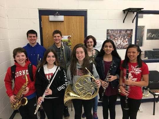 Pictured above are the Readington Middle School students who were selected for the CJMEA Middle School Honors Band and invited to participate in the Music Festival on April 21 in Monroe: Andrew Menyhert, Anthony Danubio, Katie Ryder, Fox Shreiber, Bianca Centamore, Elyse Gallagher, Gauri Patel, and Kim O'Donnell (not pictured:  Julia Clark).