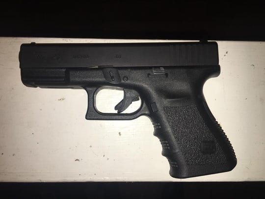 This Glock 23 was found loaded at the home of Karen Loggins, 25, by Salinas police, who searched her home after finding her with 10 ounces of heroin during a traffic stop.