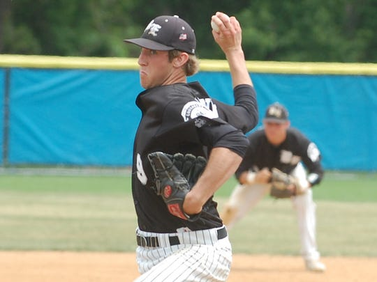Justin Hagenman pitches for Bishop Eustace in 2015.