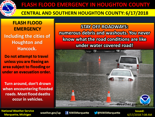 Flash Flood Emergency issued for Houghton County on