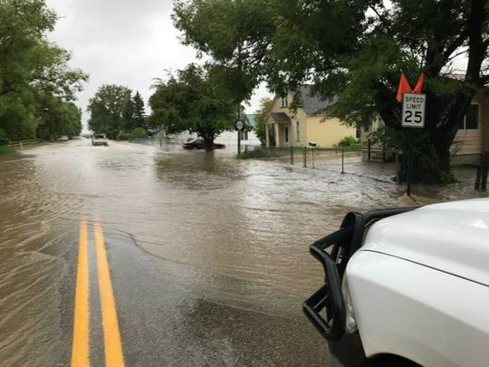 Flooding in Augusta Tuesday morning, June 19, 2018.