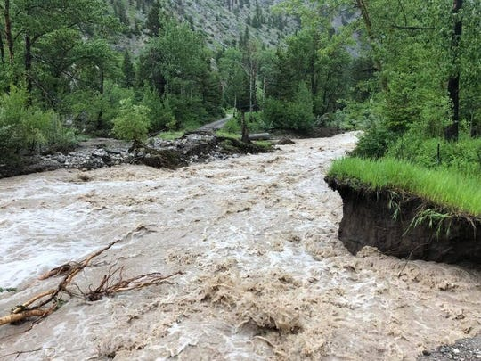 Roads are washed out near the Sun Canyon Lodge on the