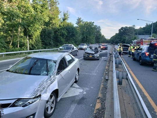 Six people were injured in a crash on the Saw Mill