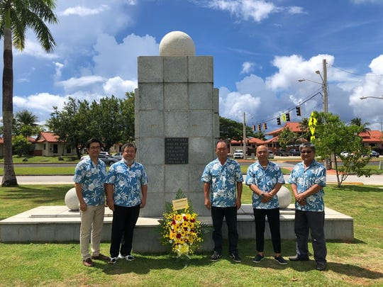 The Guam Warriors' Tower is dedicated to the brave Guam soldiers who fought during the Korean era for freedom and peace. On June 26, 2018 members of the Korean Association of Guam participated in remembrance of the 6.25 Korean War. Soldiers who fought for freedom and peace far away from home were honored on this day. Pictured: Chairman, Jae-moon Park and vice chairman, Jung-min Seo, along with directors Yong-nam Kim, Eui-jong Lee, King-don Lee, Jong-won Lee. New executive recruit: public relations director Beom-sik Kim.