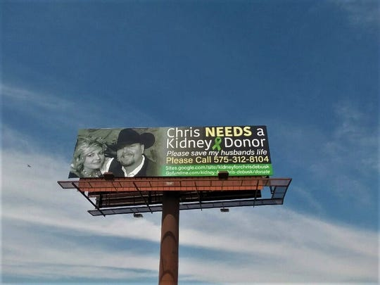 Billboard in Roswell asking for help to save Chris' life
