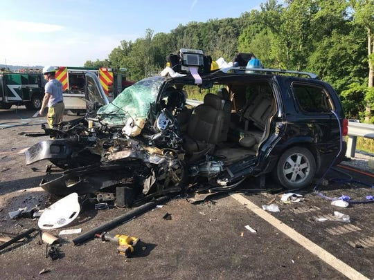Crash scene at the Thursday morning, July 5, 2018, wreck on Maynardville Pike in North Knox County where one person died.