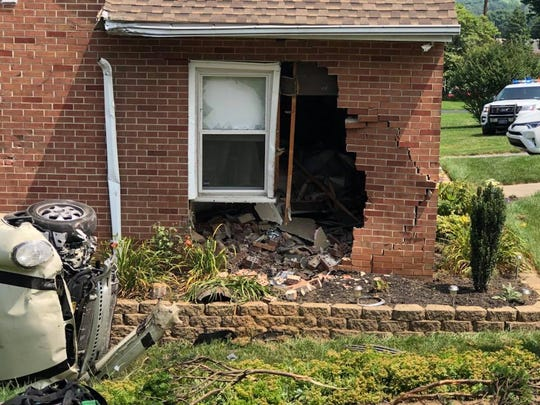 A car fleeing from police crashed into this home in the 3000 block of North George Street in Manchester Twp. on July 4, 2018, police said.