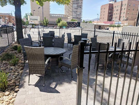 The dining terrace at Kwok's Bistro in downtown Reno