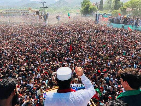 Pakistani PTI Party candidate Imran Khan addresses thousands at a political rally in Dir-Swat District, Khyber Pakhtunkhwa province, in northwestern Pakistan, on July 6, 2018.