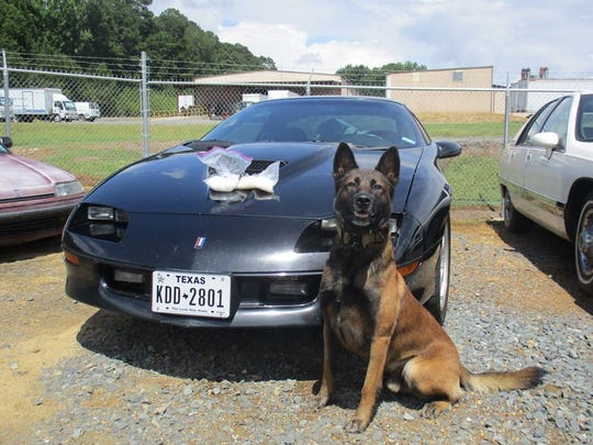 A K-9 officer discovered approximately 1 pound of methamphetamine