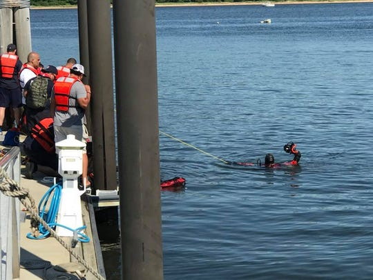 Perth Amboy Dive Team member in the water.