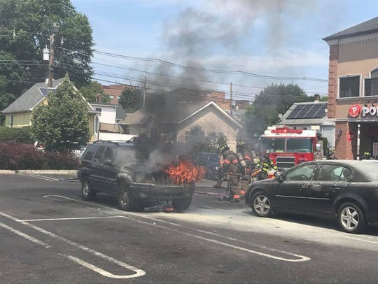Car fire on Sayre Avenue in Perth Amboy.