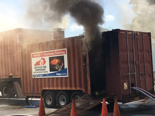 The flashover trailer pours out smoke during the training event.