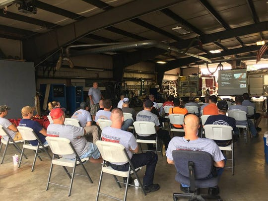 The Union County fire departments sit in on the training lessons.