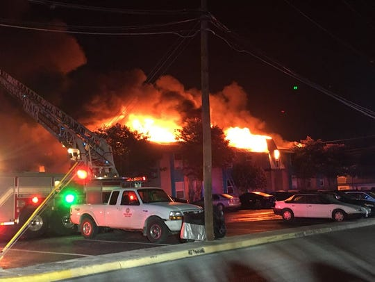 Roughly 200 residents have been displaced by a fire