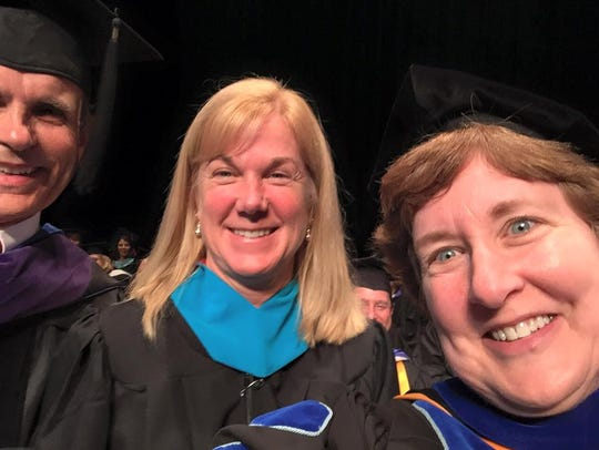 Dr. Kris Williams, president of HCC, at far right, with Henderson Schools Superintendent -- and HCC alum -- Marganna Stanley.