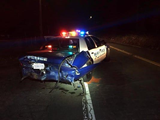 Redding police car damaged