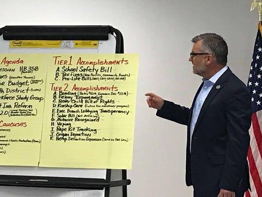 State Sen. Robby Mills speaks at Kyndle's Legislative
