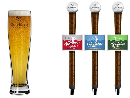 GolfBeer logo glass and tap handles