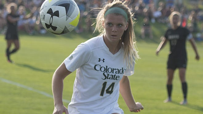 CSU's Hannah Gerdin keeps her eye on the ball during a game against CU last season. CSU's season begins at 7 p.m. Friday in a game that will air on Altitude TV.