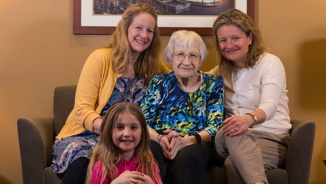 Edna Gisler Dobberpuhl (center) is shown with her daughters, Sue Dobberpuhl (left) and Sandy Dobberpuhl-Weiler (right) and great granddaughter Ashaya Platek, 9.