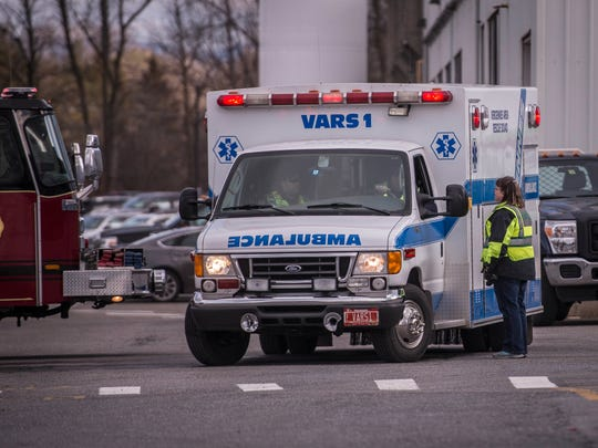 An ambulance stages at UTC Aerospace in Vergennes after transporting a patient to Porter Hospital following an explosion that injured at least three people on Friday, December 8, 2017.