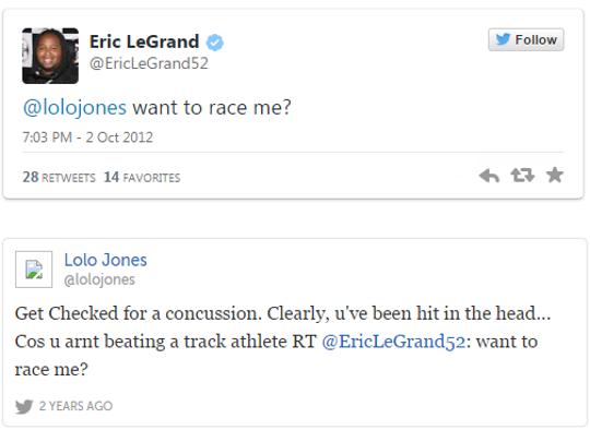 Eric LeGrand's infamous exchange with American track star Lolo Jones.