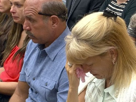Jason Marles' mother Pat Engrassia and his stepfather Joe Engrassia are shown during Erick Uzcategui's trial in State Superior Court in Toms River on July 1.