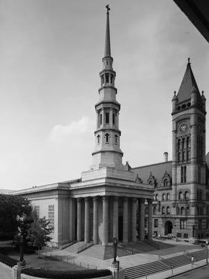 The Greek Revival-style St. Peter in Chains Cathedral, at West Eighth and Plum streets Downtown, was dedicated in 1845.