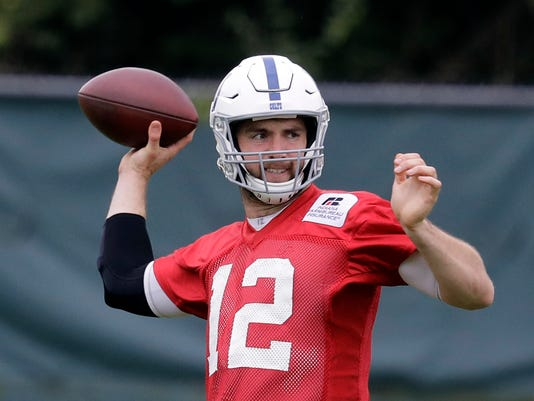 FILE - In this Oct. 6, 2017, file photo, Indianapolis Colts quarterback Andrew Luck throws during NFL football practice in Indianapolis. Andrew Luck is throwing footballs again. Indianapolis Colts coach Frank Reich said Tuesday, March 27, 2018, that Luck has begun to throw as part of the rehab for his surgically repaired shoulder. Luck missed the entire 2017 season because of the injury. (AP Photo/Darron Cummings, File)