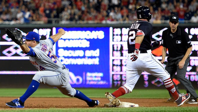 The Nationals' Adam Eaton suffered serious injuries to his knee and ankle trying to beat out an infield single Saturday against the Mets.