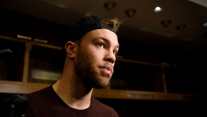 New Jersey Devils forward Taylor Hall speaks with the press at the Prudential Center in Newark on Tuesday, April 24, 2018.