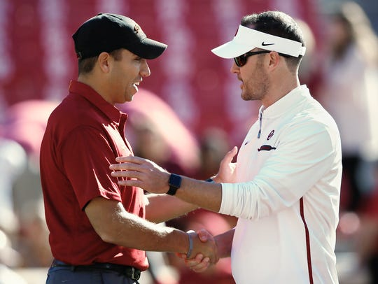 Iowa State head coach Matt Campbell, left, and Oklahoma