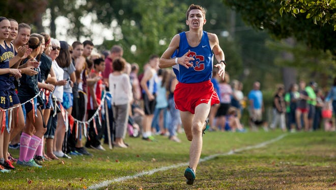 St. Clair's Brendan Parr finishes first during the Marysville Invitational Thursday, Oct. 6, 2016 at Marysville City Park.