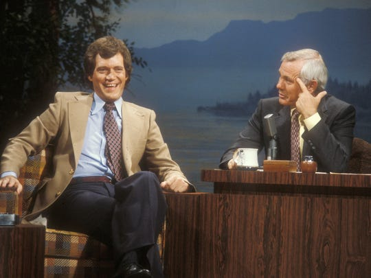 David Letterman appears as a guest with Johnny Carson.