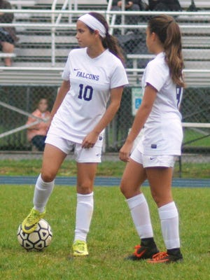 Two reasons the future is bright for Saddle Brook are sophomore forward Ashley Georgevich (10) and freshman Mia Lopez.