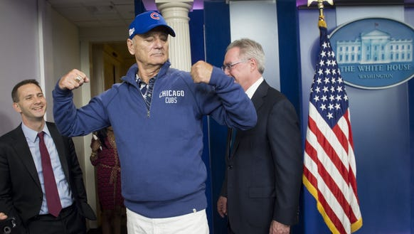 Comedian Bill Murray visits the Brady Press Briefing