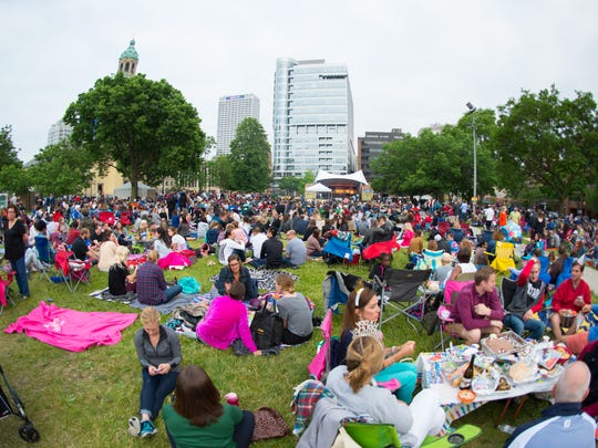 Jazz in the Park is a popular free summer music series on Thursdays in Milwaukee's Cathedral Square Park.