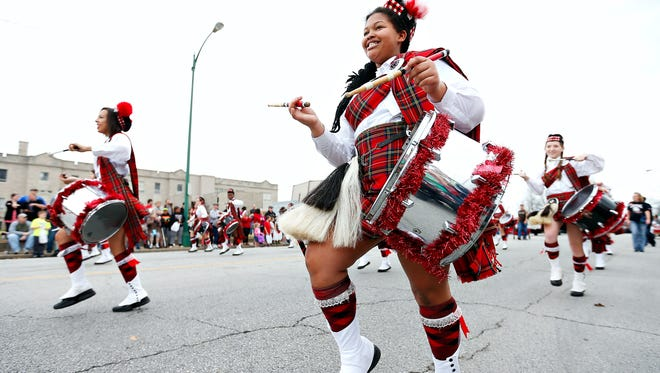 The Central High School Kilties perform during the Springfield Christmas Parade in 2015.