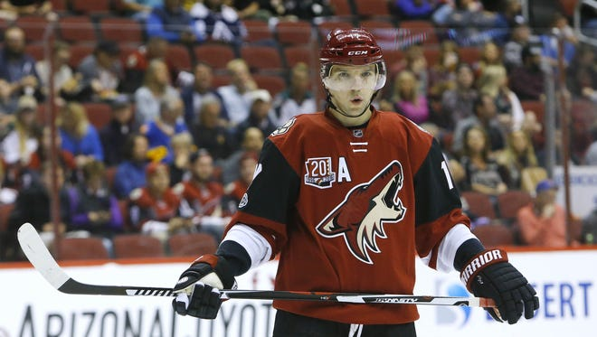 Arizona Coyotes right wing Radim Vrbata (17) during their NHL game against the Colorado Avalanche Monday, Mar. 13, 2017 in Glendale.
