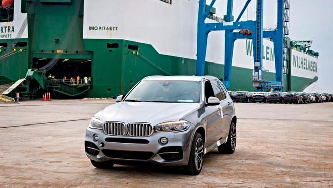 The 2,000,000th BMW exported from South Carolina  was loaded onto a ship in Charleston on Thursday, March 17, 2016.